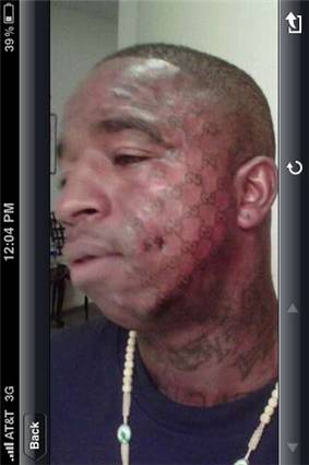 Epic fail gucci a and face tattoo gone awfully wrong for Face tattoos gone wrong