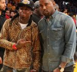 lil wayne and kanye west lakers game