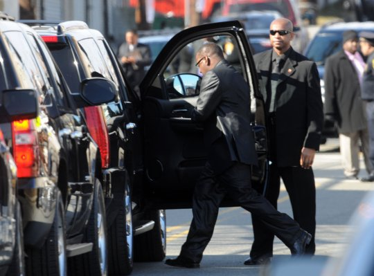 Bobby Brown and Alicia Etheridge leave Whitney Houston Funeral