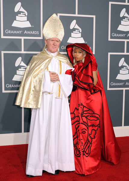 nicki minaj and pope at Grammys