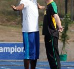 Prince Harry and Usain Bolt joke during his visit