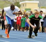 usain bolt and Prince Harry is first out of the blocks