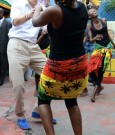 Prince Harry dances with some dancers at the Rise Life Youth center in Kingston, Jamaica