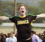 Prince Harry looks pleased after beating Usain Bolt in a short sprint