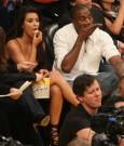 kanye west and Kim Kardashian courtside