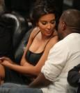 kanye west and Kim Kardashian laker game