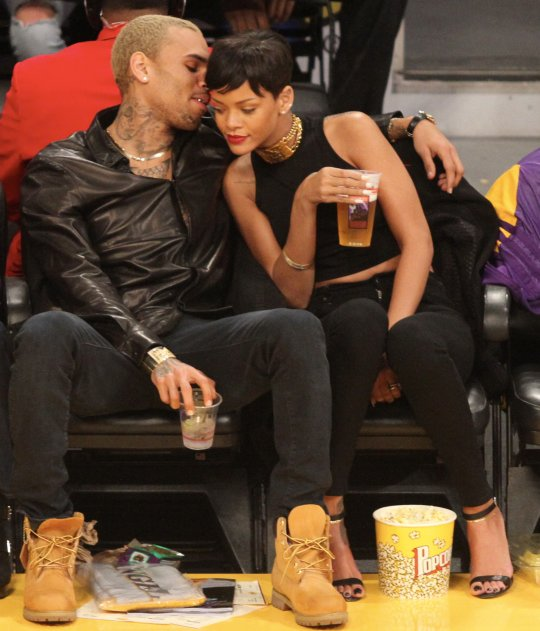 Rihanna Chris Brown lakers game