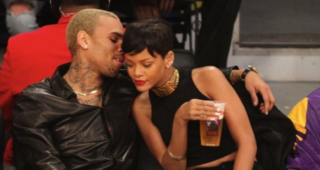 Rihanna Chris Brown lakers game1