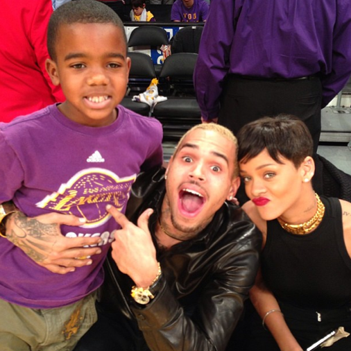 Rihanna chris brown lakers game 1