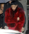 Rihanna red fur coat
