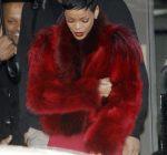 Rihanna red fur coat