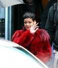 rihanna paris red fur coat