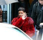 rihanna paris red fur coat