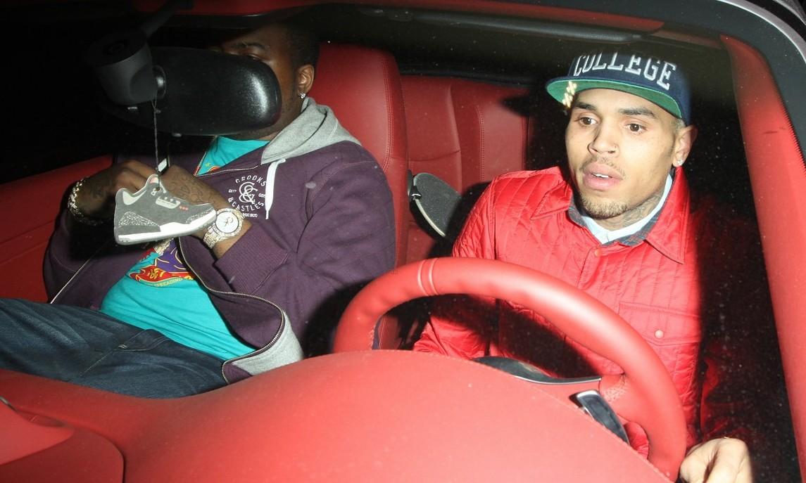 Chris Brown red car