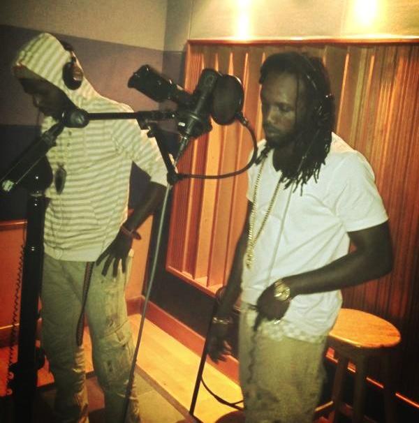 Mavado and Chronixx in studio