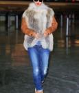 Rihanna fur coat jeans