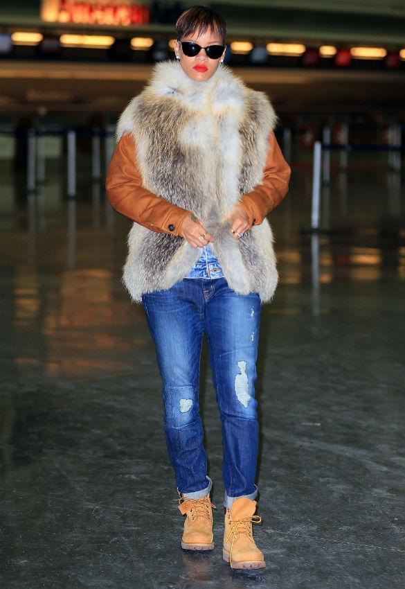 Rihanna fur coat