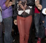 Rihanna red leather pants