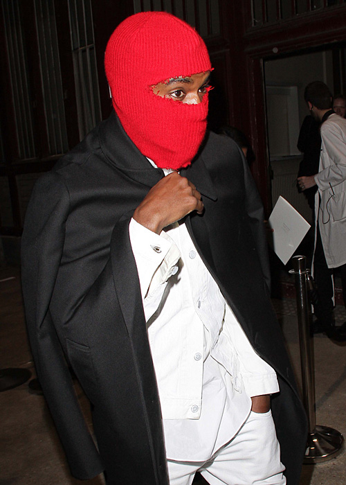 kanye west mask fashion week