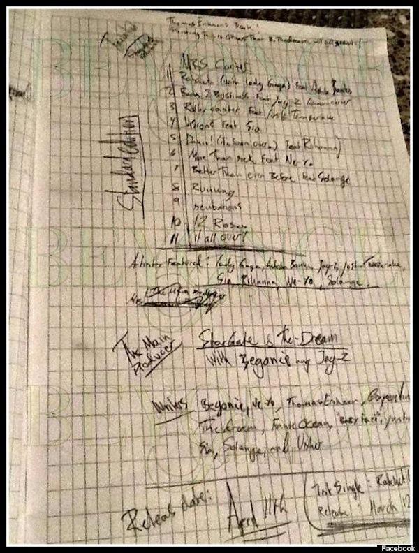 Beyonce album tracklisting
