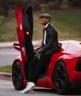 Chris Brown Red Lamborghini photo