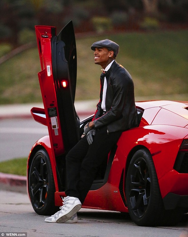 Chris Brown Red Lamborghini photo