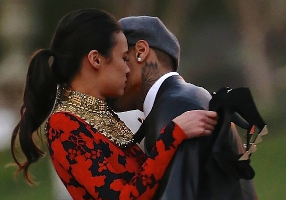 Chris Brown kissing model co-star