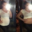 Kim Kardashian bare pregnant belly