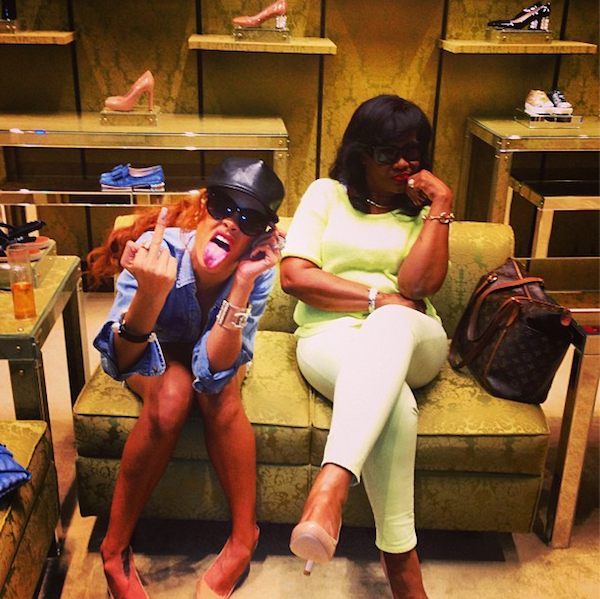 Rihanna and her mom Monica 2013