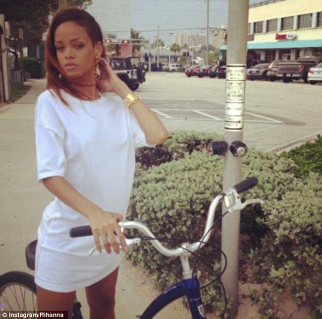 Rihanna biking