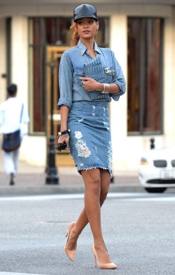Rihanna denim outfit