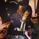 Rihanna drinking wine