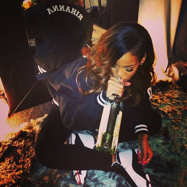 Rihanna drinking wine