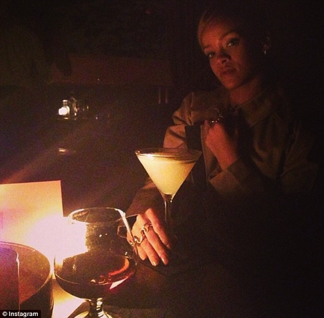 Rihanna driking martini