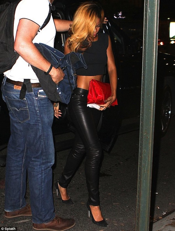 Rihanna leather pants nyc 1