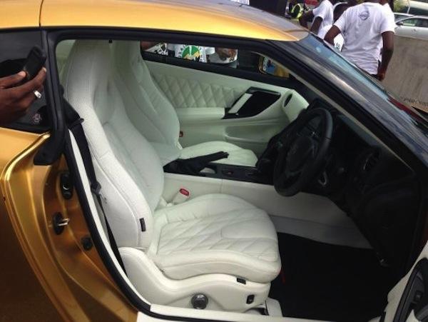 Usain Bolt Gold Nissan GT-R inside