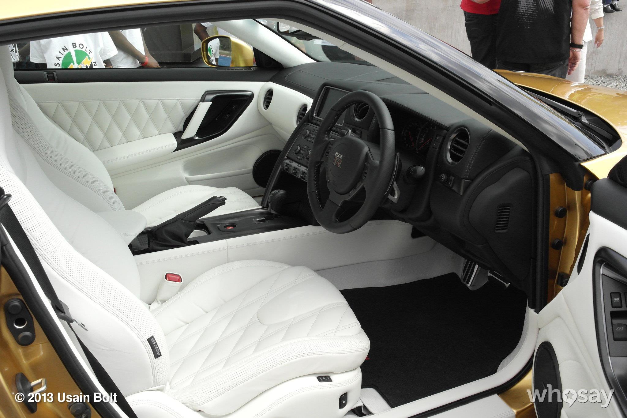 Usain Bolt nissan gt-r white interior