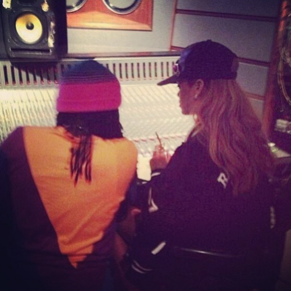 Wale and Rihanna in Studio