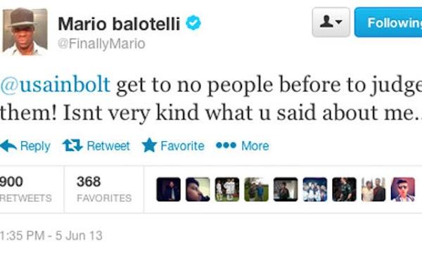Mario Balotelli tweets at Usain Bolt