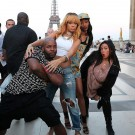 Rihanna and friends eiffel tower photo
