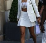 Rihanna white outfit paris
