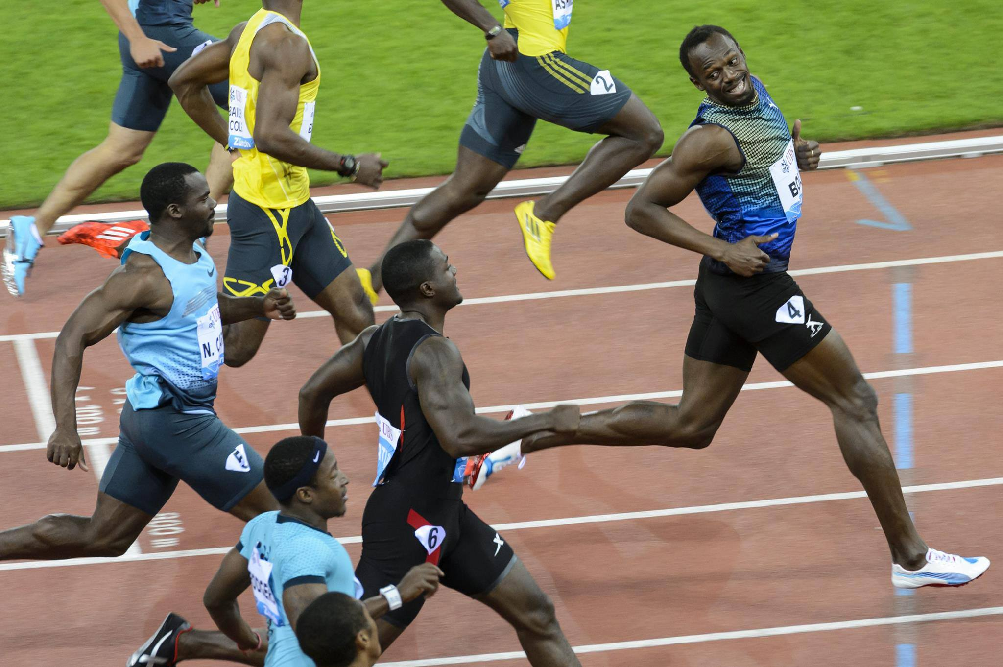 Bolt laughing at Gatlin