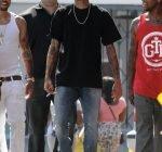 Chris Brown and Nicki Minaj arriving on the music video set of 'Love More'