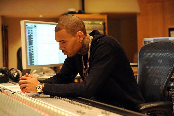 Chris Brown in the studio