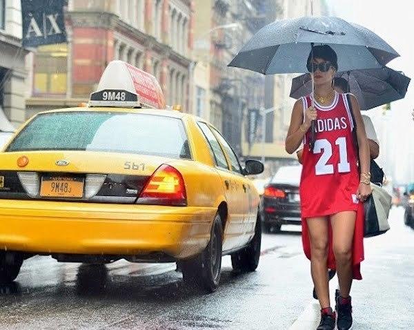 Rihanna walking in rain