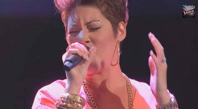 Tessanne Chin performing on The Voice