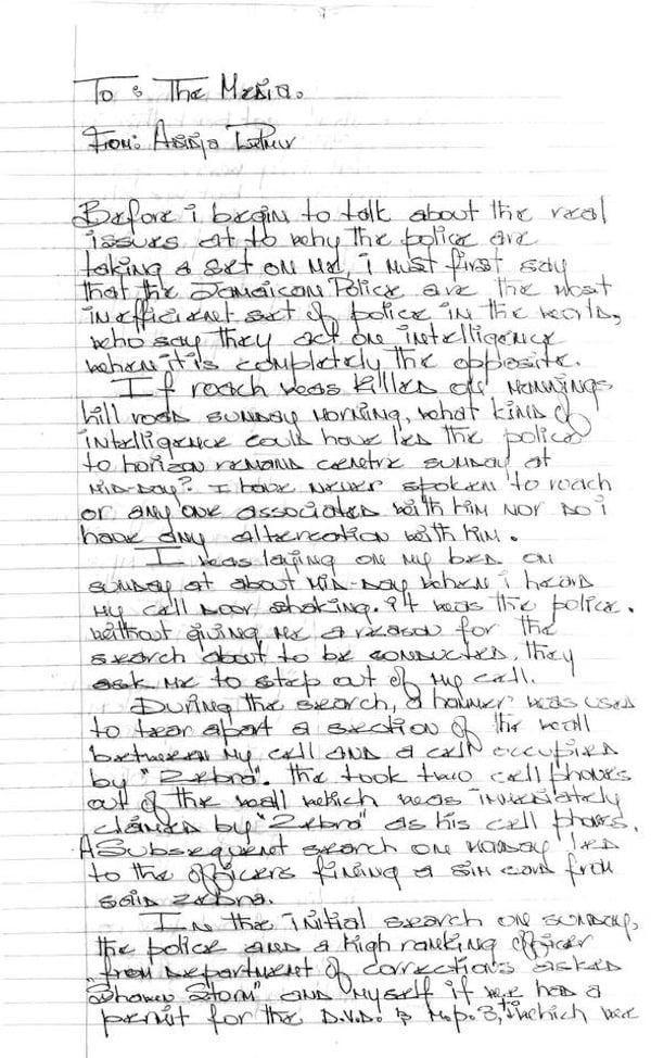 Vybz Kartel hand written letter 1
