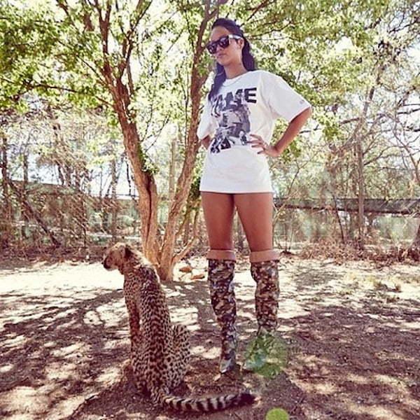 Rihanna and a cheetah
