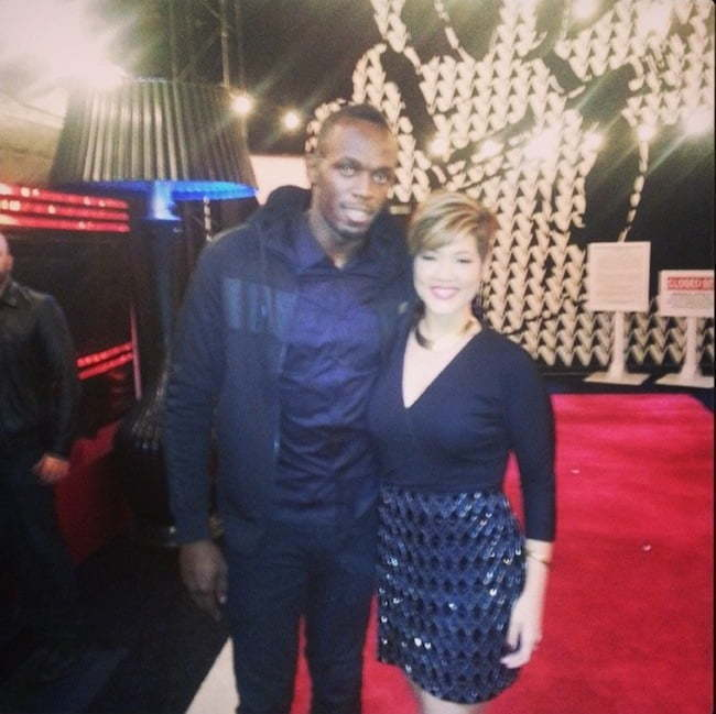 Usain Bolt and Tessanne Chin The Voice