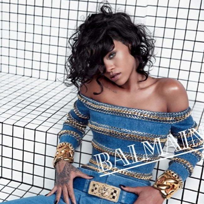 Rihanna Balmain denim